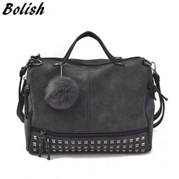 Motorcycle Hair Australia - Bolish Vintage Nubuck Leather Female Top-handle Bags Rivet Larger Women Bags Hair Ball Shoulder Bag Motorcycle Messenger Bag #34488