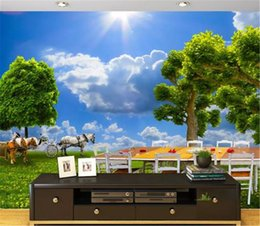 Kitchen Picnic Australia - HD Outdoor Picnic Horse Carriage Leisure Wallpaper 3d on the wall Indoor TV Background Wall Decoration Mural Wallpaper