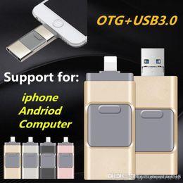 Flash Drive For Iphone NZ - 4Col 8GB 16GB 32GB 64GB 128GB 256GB USB Flash Drive U Disk Memory Stick for Apple iPhone 5 5S 6 6s plus iPad OTG Pendrive For Andriod iOS PC