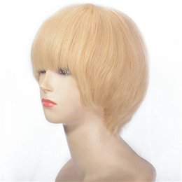 peruvian straight short wig Canada - Lace Front Human Hair Wigs 613 Blonde Short Wigs 130% Density Peruvian Straight Hair Full Lace Wig For Women