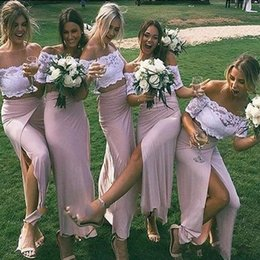 lovely chiffon prom dresses UK - Lovely Blush Two Pieces Bridesmaid Dresses Off the shoulder White Lace Slits Cheap Wedding Guest Prom Formal party Dress Wholesale Price