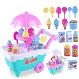 ice puzzle UK - Children'S Simulation Candy Ice Cream Cart Girl Puzzle House Set Toy Children'S House Dessert Trolley