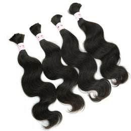 "brazilian hair for wholesale UK - 100% Natural Human Hair Bulk 14""-26 inches Body Wavy Peruvian Hair Extensions without Weft for Micro Braids on Head FREE Tangle 4Bundles"