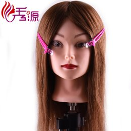 Discount doll heads hair - Xiuyuan Brown Color Long Size Hair Female Hairdresser Hairstyles Human Hair Manikin Mannequin Training Head For Hairdres