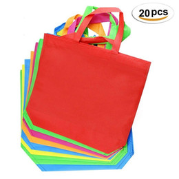 Kids Birthday Crafts UK - 20pcs Multi-use With Handle Women Shopping Bag Solid Color Non-woven Kids Birthday Party Favor Diy Craft Gift Tote Bags Q190524
