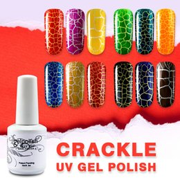 Discount nail art soak off glitter - verntion Crackle glitter Nail Polish Manicure Art Design Gel Lacquer Color Cracking soak-off Led Lamp Nail Polish Gel Va