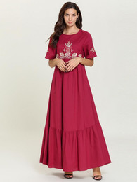 $enCountryForm.capitalKeyWord Australia - 7738 Women Long Muslim Dress Embroidery Red Summer Robe Abaya Femme Dubai Turkish Turkey Bangladesh Kaftan Plus Size Islamic Clothing