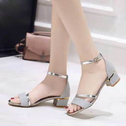 $enCountryForm.capitalKeyWord NZ - summer sandals for women Fashion Women Sequins Sandals Ankle Mid Heel Block Party Open Toe Shoes