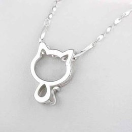 "kitty cat pendant Australia - Cat Necklace pretty Tiny Cat Pendant Choker Necklace With 17.7""Chain Fashion Lovely Kitty Jewelry For Women Girl Plated Silver Necklaces"