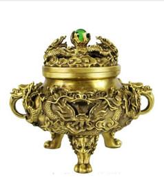 $enCountryForm.capitalKeyWord UK - NEW SCY Collectible bronze lion statue S0836 Chinese brass Copper Refined Myth Dragon iac Play Bead incense burner censer B0403