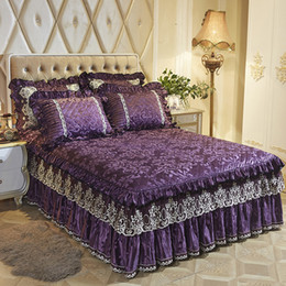 purple queen bedding sets Canada - Fleece Warm bed skirt bedspread twin full queen king size bedsheet bed cover set purple pink red pillowcases couverture de lit T200415