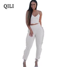 79b7fe8f8ba0 QILI Women Ruffles Jumpsuits Romper Summer Sleeveless 2 Piece Set Casual  Jumpsuit Woman Fashion Street Wear White Black Red