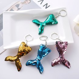 sequin home decor 2020 - Sequin Mermaid Keychain Handbag Hanging Decoration Pendant Key Ring Phone Charms Cute Animal Gift Home Decor Free Shippi
