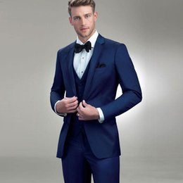 Royal Blue Yellow Suits Australia - Mens Suits Royal Blue Groomsmen Wedding Tuxedos Notched Lapel Groom Suit Custom Made Formal Blazer (Jacket Pants Vest )terno