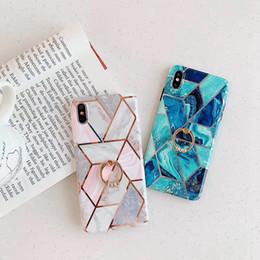 $enCountryForm.capitalKeyWord Australia - Plating Marble Hybrid Case For Iphone XS MAX XR X 8 7 6 S10 S9 360 Finger Metal Ring +Luxury Soft TPU IMD Rock Holder Chromed Contrast Cover