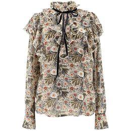 $enCountryForm.capitalKeyWord Australia - Wholesale Women Shirts 2019 Spring New Retro Style Italian Romantic Small Floral Ruffled Straps Small Stand Collar Slim Chiffon Shirt