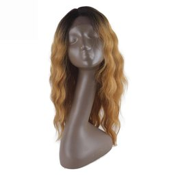 China Water Wave Synthetic Lace Front Wigs Heat Resistance Fiber Long Ombre Gold Burgundy Dark Brown Synthetic Hair Wig Lace Wigs Synthetic Wig supplier ombre dark burgundy lace front wigs suppliers