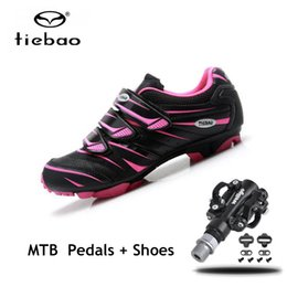 Cycle Pedals Mountain Australia - TIEBAO Professional sapatilha ciclismo mtb Women Mountain Bike Shoes SPD pedals Breathable Cycling Shoes MTB Bicycle