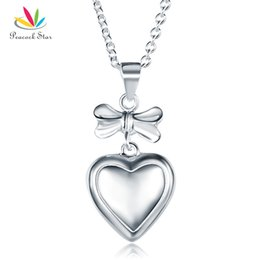 necklaces pendants Australia - Kids Girl Ribbon Heart Pendant Necklace Solid 925 Sterling Silver Children Jewelry CFN8064 Dropshipping Service Available