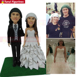 Figure Cake NZ - wedding cake topper camping custom Couple Bobblehead mini couple statue custom bobblehead figures from photo by Turui Figurines