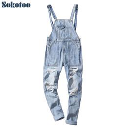 Fitted Denim Jumpsuit Australia - Sokotoo Men's plus size light blue ripped denim slim fit bib overalls Casual holes distressed jumpsuits Jeans