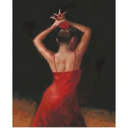 $enCountryForm.capitalKeyWord Australia - Hand painted beautiful oil paintings del Flamenco lady artwork for living room decor