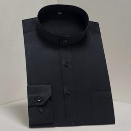 $enCountryForm.capitalKeyWord Australia - Men's Long Sleeve Banded Collar (Mandarin Collar) Dress Shirt Patch Chest Pocket Black White Smart Casual Standard-fit Shirts