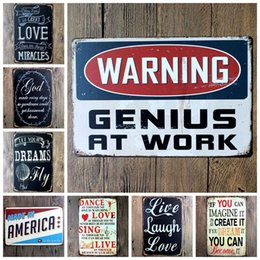 iron metal crafts Canada - Warning Poet Tin Signs Wall Decor Metal English Alphabet Poetry Vintage Craft Art Iron Painting Tin Poster Cafe Bar Club Home Decorate