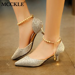 Designer Dress Shoes MCCKLE Women Autumn Buckle Strap High Heels Ladies  Pumps Pointed Toe String Bead Chain Sexy Footwear Drop Shipping 1bda399eab44
