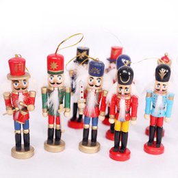 soldier cartoon NZ - Christmas Desktop Ornaments Nutcracker Puppet Soldier Wooden Crafts Christmas Decorations Birthday Gifts For Kids Girl Place Arts DHL AN2678