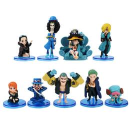 luffy clothing Australia - Anime One Piece Mini Figure Nami Luffy Sanji Zoro Usopp Nico Franky Brook 20th Anniversary Blue Clothes Model Toy