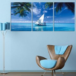 sailing ocean painting Australia - 3 Pcs Ocean Sailing HD Printed Canvas Prints Painting Wall Pictures For Living Room Wall Art No Frame