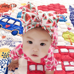 $enCountryForm.capitalKeyWord Australia - INS Europe and America Sweet Print Watermelon Flower Baby Girl Hat with Bow Baby Turban Cap for Girls Elastic Infant Accessories