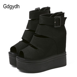 high shoes zippers for men UK - Gdgydh Flock Platform Women Boots Summer Fashion Autumn Ankle Boots For Women Rome Shoes Wedges Thick Heels Peep Toe Back Zipper