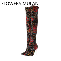 Discount super thigh high boots Colorful Printing Floral Stretch Sock Boots For Women Fashion Thigh Boots Sexy Pointed Toe Super High Heels Ladeis Booti