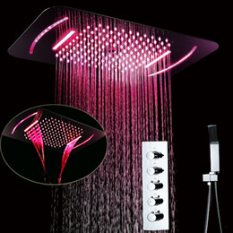 $enCountryForm.capitalKeyWord Australia - Remote Control LED Light Ceiling Shower Set Concealed Embedded Into Wall Embedded Thermostat Shower System Faucets Waterfall Rainfall Misty