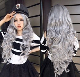 Grey woman hair wiGs online shopping - Fashion Sexy Long Gray Grey Curly Women Lady Cosplay Anime Hair Wig Wigs Cap