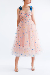 Wholesale s star cap for sale – custom 2020 Pink Women Star Applique Mesh Dress Summer Strapless Midi Women Party Dress Sleeveless Casual A line Dresses High Street Vestidos