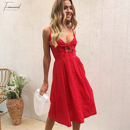 ivory coloured dresses Australia - Women Colour Sexy Bow Backless Polka Dots Beach Summer Dress 6 Deep V Neck Buttons Red White Off Shoulder Midi Dresses