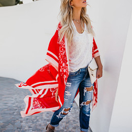 long black v neck blouse 2019 - Women's Coat Ladies Batwing Sleeve Shawl Stylish Outdoor Fashion Holiday Printed Blouse Sexy Overall cheap long bla