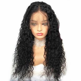 $enCountryForm.capitalKeyWord UK - Fashion 180% Heavy Density Black Water Wave Synthetic Lace Front Wig Heat Resistant Loose Curly Half Hand Tied Front Wigs With Baby Hair