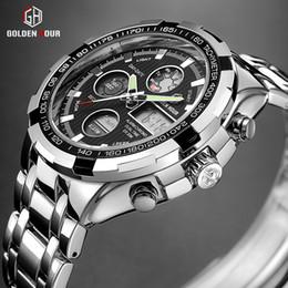 Men Sports Hand Watch Australia - GOLDENHOUR Men Fashion Sport Quartz Watch Mens Waterproof Auto Date Wristwatches Luminous Hands Stainless Steel Relogio