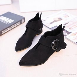$enCountryForm.capitalKeyWord Australia - Women Ankle Booties Warm Short Plush Ladies Metal Buckle Suede Leather Martin Boots Fashion Slip On Female Casual Square Heel Shoes L-123