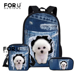 dog backpack for kids 2019 - FORUDESIGNS Pearl Dog School Bags Backpack Schoolbag Kids Backpacks For Children Girls Border Collie School Student Moch