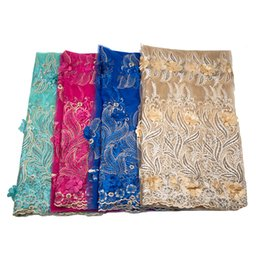 China wholesale african lace fabric material nigerian lace fabric with sequins,nigerian lace fabrics for wedding 2019 cheap bedding pictures suppliers