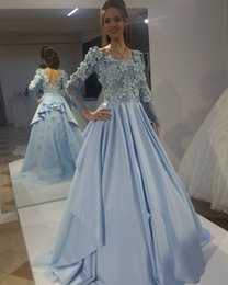 Wholesale Stunning Baby Blue Elie Saab Evening Gowns Vintage Puffy Top D Floral Appliques Long Sleeves Modest Prom Dress Low Back arabic dresses