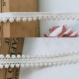 Pearl Trim Yard NZ - 1 Yard Pearl Beaded Edge Lace Ribbon Grosgrain Tape Trim 1 2 inch White Embroidered Sewing Craft Wedding Bridal Dress Sash Belt Accessories