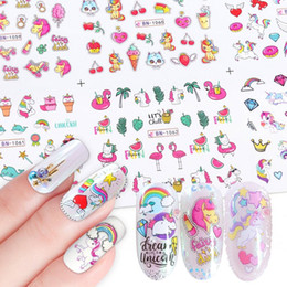 $enCountryForm.capitalKeyWord Australia - 12pcs Water Nail Stickers Unicorn Cute Cartoon Design Water Decal Sliders Wraps Tool Manicure Nail Art Decor Tips JIBN1057-1068