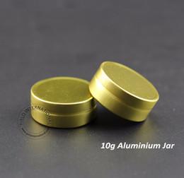 Discount aluminum cap case - 50pcs lot 10g Gram Aluminum Jars Empty Cosmetic Tins Case Refillable Metal Cream Container with Gold Cap Makeup Packagin