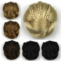 $enCountryForm.capitalKeyWord Australia - Women Meatball Head Chignons 6 Colors Synthetic Hair Clip-In Dount Chignon Pure Color Headwear Fashion Three Braids Decoration Chignons